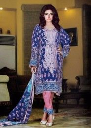 Daily Wear Cambric  Blue Printed Churidar Suit