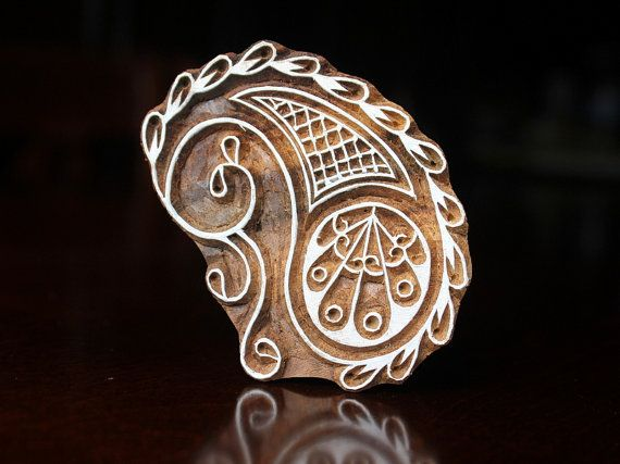 Textile Stamp, Pottery Stamp, Indian Wood Stamp, Tjaps, Blockprint Stamp, Printing Block Stamp- Stylized Paisley