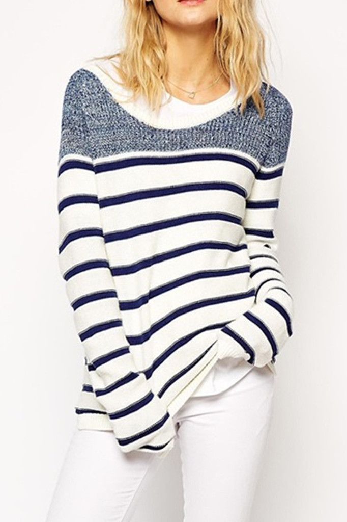 Casual Stripe Printed Pullover Sweater