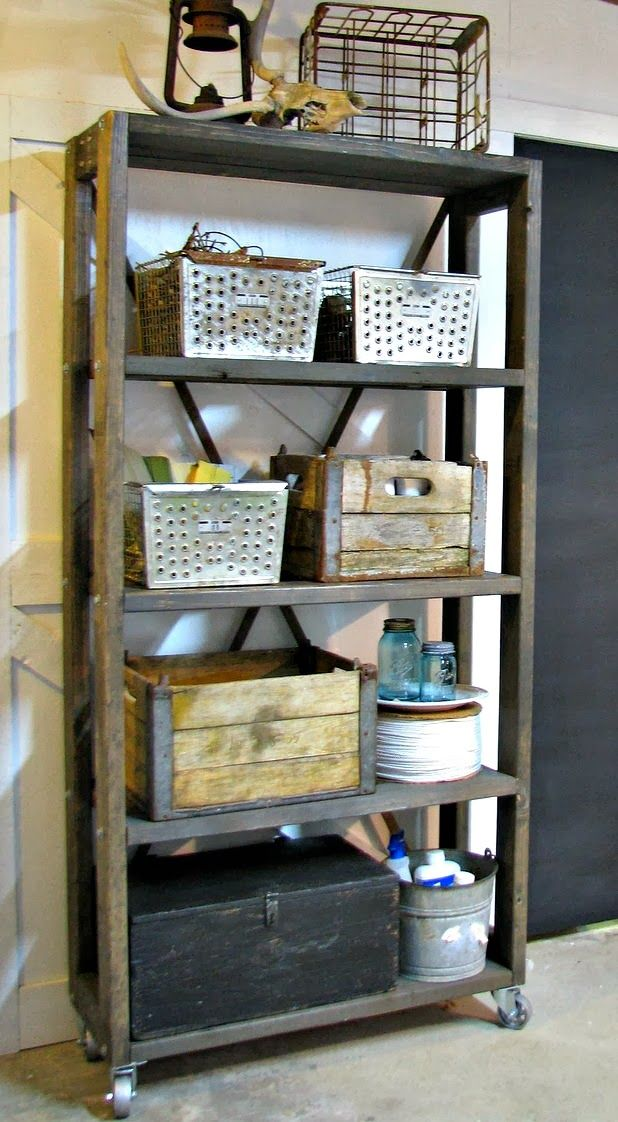 Diy rolling industrial shelving blue roof cabin stains for Diy industrial bookshelf