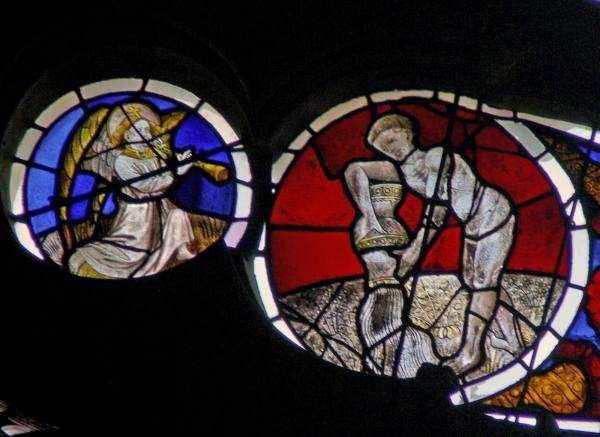 Aquarius.  Signs of the Zodiac stained glass from The Saint Maurice Cathedral of Anger Groundbreaking 1032- Completed 1523, Angers, France