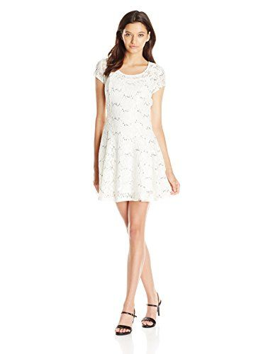 Speechless Juniors Cap Sleeve Sequin Lace Dress IvorySilver S -- Want to know more, click on the image.