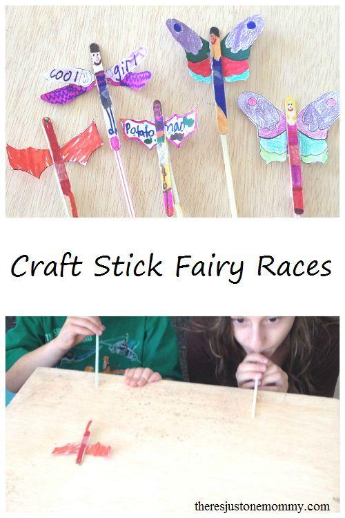 Fun Fairy Craft -- Make these fun craft stick fairies and them race them!
