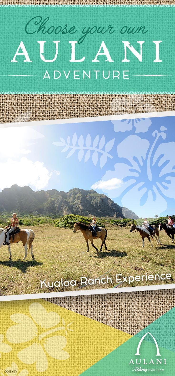 Guests at Aulani, a Disney Resort & Spa in Hawai'i can embark on a horseback ride and experience the spectacular scenery of Oahu's hidden valleys.