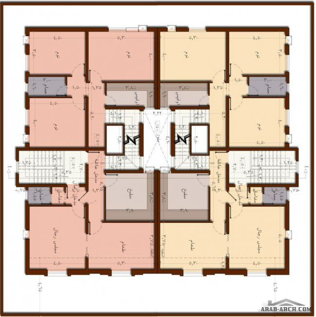 خريطة 4 وحدات دوبلكس بتصميم فريد ومرن قابل للافراز مستقبلا Home Map Design House Plans Villa Design