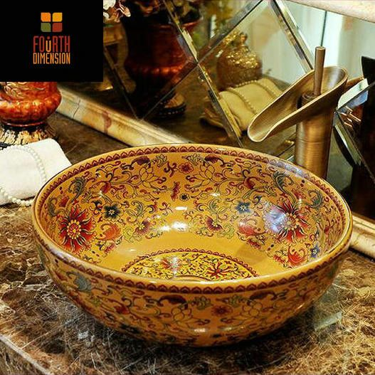 Vintage Style Artistic Ceramic Countertop Round Sink Bathroom Basin - ICON2 Luxury Designer Fixures  Vintage #Style #Artistic #Ceramic #Countertop #Round #Sink #Bathroom #Basin