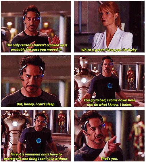 Iron Man 3 Probably The Most Honest And Romantic Thing Tony Has Ever Said Marvel Funny Tony And Pepper Tony Stark