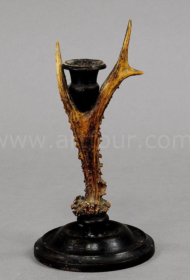 Antique Black Forest Antler Candleholder Black Forest