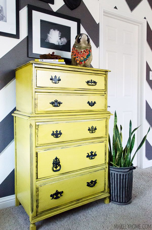 yellow chest of drawers  (How to Unstick a Sticky Drawer in Seconds; candle wax)