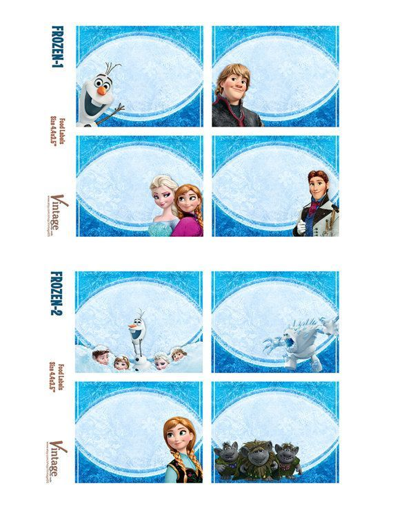 Disney Frozen Party Food | disney frozen birthday party food labels bonus tent food labels ...