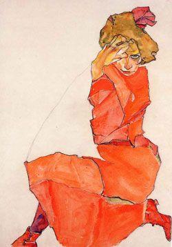 Donna inginocchiata con abito rosso-arancione   Egon Schiele