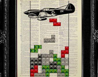 TETRIS aviones arte, NINTENDO arte, decoración del avión, avión pared arte, regalo de la fuerza aérea, cartel de Tetris, aire fuerza esposa novia, regalo de aviador