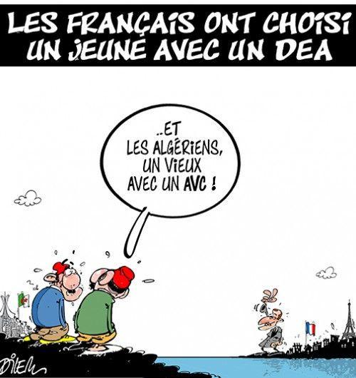Dilem (2017-05-16) France- Algérie: Français ont choisi un jeune avec un DEA, et l'Algérie.....  ÷÷Caricature de Dilem du 16-05-2017   Presse-dz