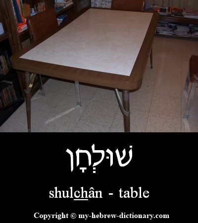 "How to say ""Table"" in Hebrew.  This word is used many times in the Tanach (Hebrew Bible). See for example Shemot (Exodus) 25:23. It is the correct word to use in Modern Hebrew as well. The shoresh (root) שלח usually means ""to send"" but the Jastrow Dictionary says it can also mean to draw out or stretch forth, which seems to be more relevant in this case.  Click here to hear it spoken by an Israeli: http://www.my-hebrew-dictionary.com/table.php"
