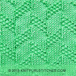 January, 2016 - Diagonal Moss Stripe stitch. Great textured pattern with only knit and purl stitches. Perfect for cozy blankets!