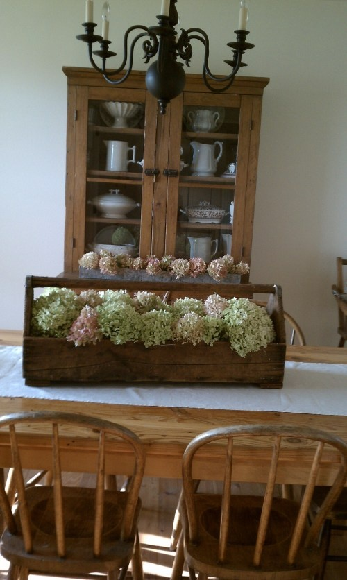 old tool caddy with hydrangea centerpiece.  Love it.  French Country Simple.