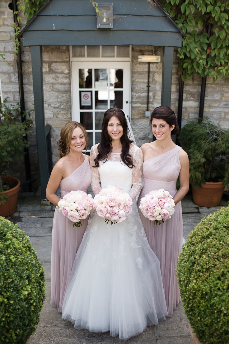 Baby Pink One Shoulder Bridesmaid Dresses | Pronovias Wedding Dress | Pastel Pink Colour Scheme | Rustic Barn | Almonry Barn Wedding Venue | Images By Julie Michaelsen | http://www.rockmywedding.co.uk/kat-alex/