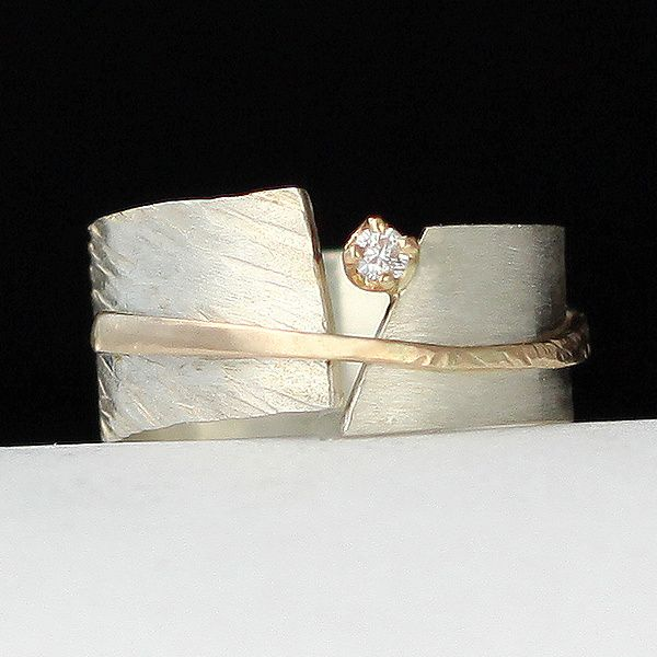 Between You and Me by Dagmara Costello: Gold, Silver and Stone Wedding Band available at www.artfulhome.com