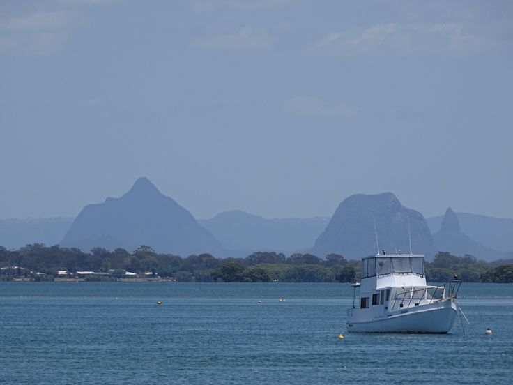 Glasshouse Mountains from Bribie Island.
