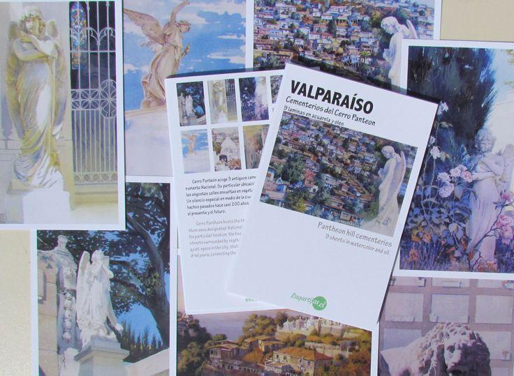 """Set de laminas en acuarela y oleo """"VALPARAÍSO. CEMENTERIOS DEL CERRO PANTEON"""""""