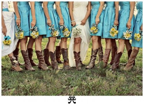 Bridesmaids in Cowgirl boots? :): Cowgirl Boots, Ideas, Cowboy Boots, Bridesmaid Dresses, Cowgirlboot, Colors, Country Wedding, Cowboys Boots, The Dresses