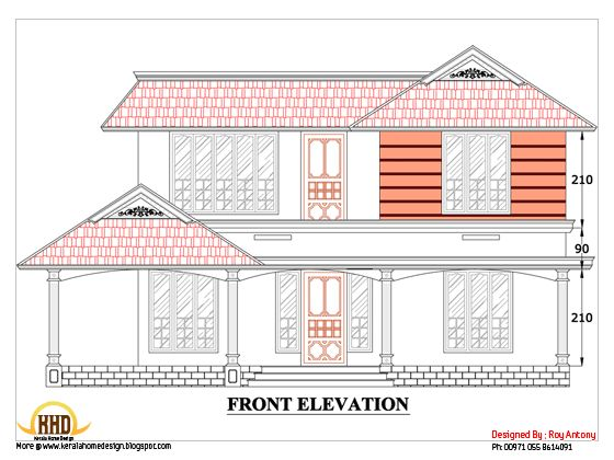 free house  plans  in 2d drawings Sloping Roof house