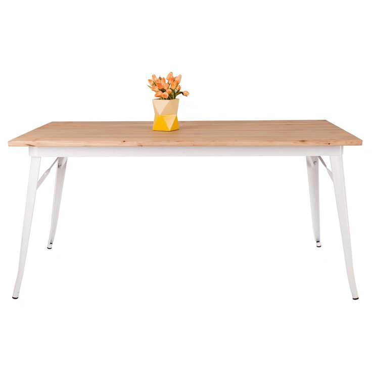 NEW Tolix Replica Dining Table w Elm Wood Top & Metal Frame: 160cm x 80cm: White