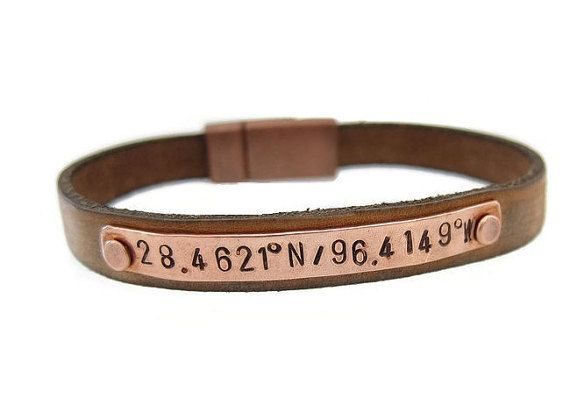 Give your guy the perfect gift with this custom copper leather bracelet personalized with coordinates for the location of where you first met, got married or the location of where your child was born stamped in Latitude and Longitude coordinates! Your custom leather bracelet can say whatever word(s) are most meaningful, a message you want to convey, a location thats important to you or a date you dont want to forget. Whatever you decide, he will treasure this wearable bracelet for years to…