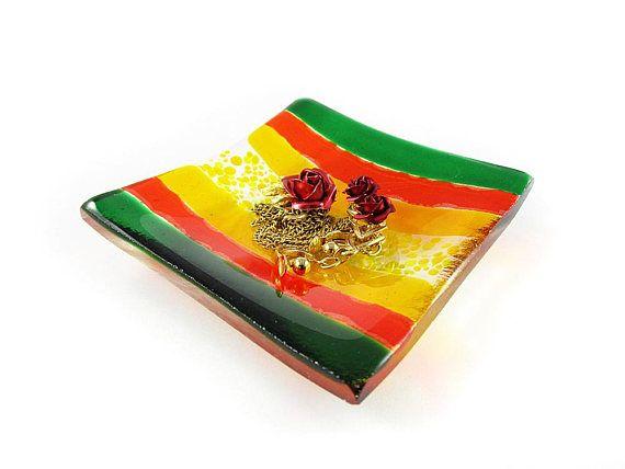 Striped Ring Dish Trinket Dish Red Dish Fused Glass Dish Soap