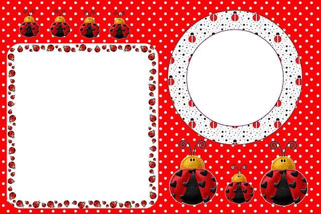 Joaninha – Kit Completo com molduras para convites, rótulos para guloseimas, lembrancinhas e imagens!  Fazendo a Nossa Festa