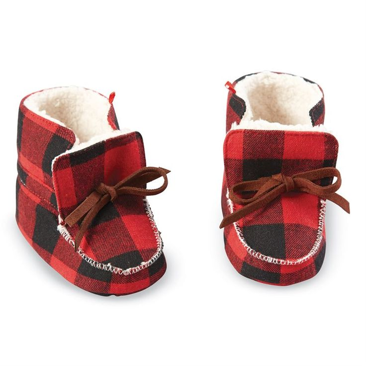 Mud Pie Buffalo Check Booties | Shop Cute Winter Clothes for Baby Boys at Sugar Babies Boutique!