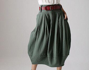 lagenlook skirt,midi skirt, pleated skirt, custom made skirt, pocket skirt, green skirt, casual skirt, womens skirts. gift for women  (870)