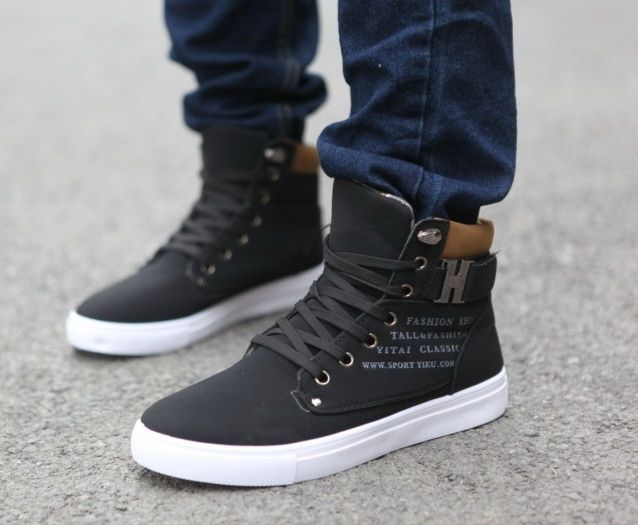 2014 New Zapatos de Hombre Mens Fashion Spring Autumn Leather Shoes Street Men's Casual Fashion High Top Shoes Canvas Sneakers - Black