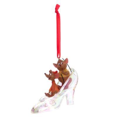 Nu ved du, hvor Askepots glassko blev af! Den hænger på dit juletræ. Musene Tim og Bum har gemt sig i skoen. Inkl. bånd til ophæng.