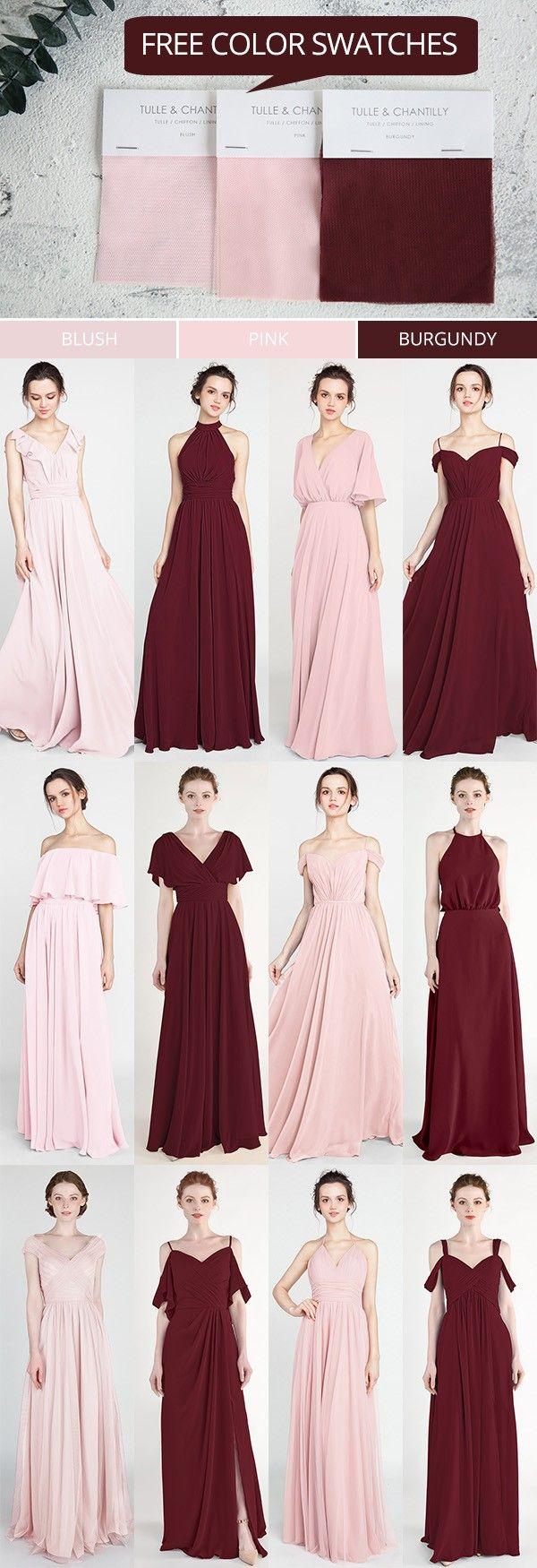 pink and burgundy bridesamid dresses with free swatches #wedding #weddinginspiration #bridesmaids #bridesmaiddress #bridalparty #maidofhonor #weddingideas #weddingcolors #tulleandchantilly – Aderianna Manuel