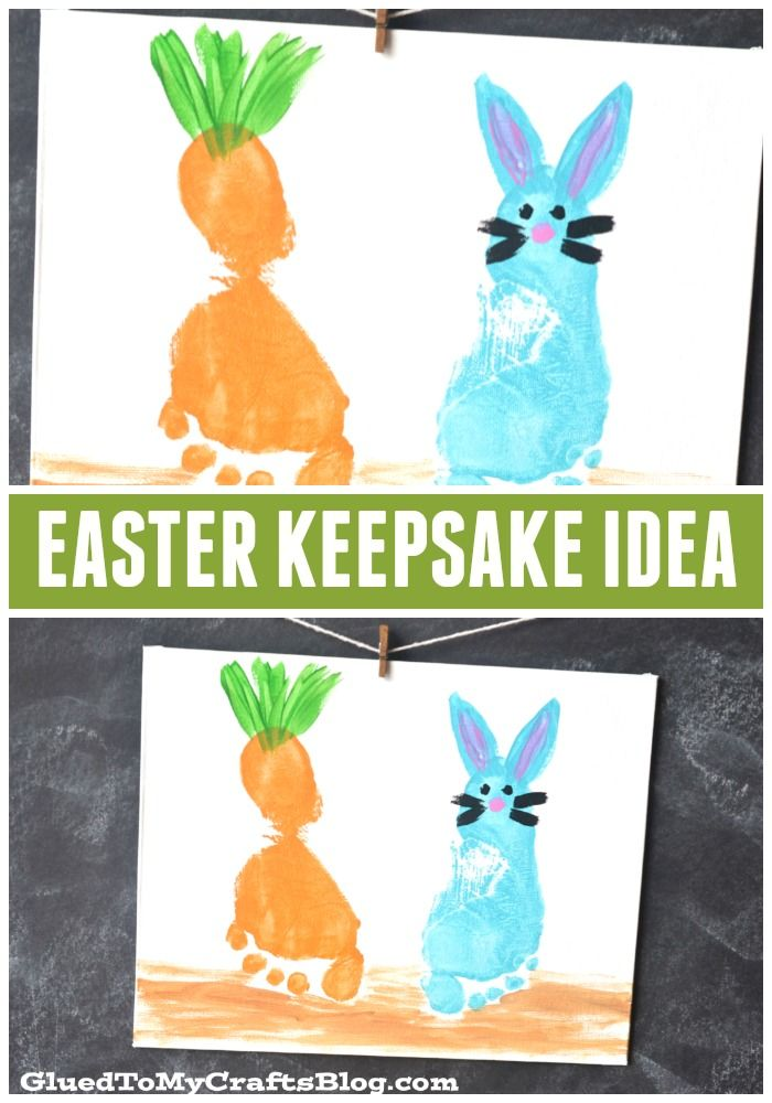 Footprint Easter Keepsake Idea - perfect as a kid made gift idea for grandparents!!!