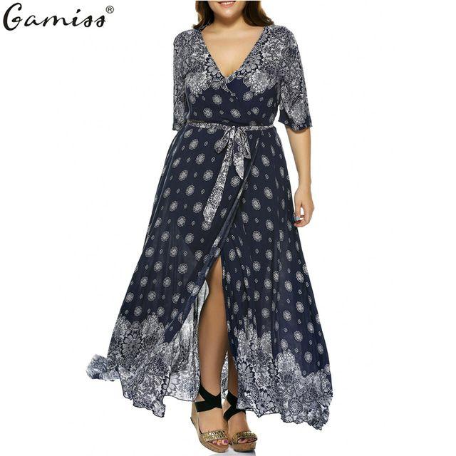 Gamiss plus rozmiar 5xl dress eleganckie kobiety plunge drukuj czeski dopasowanie koronki z krótkim rękawem dorywczo luźne nieregularne hem