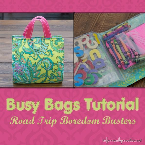 Check out this sewing tutorial to make a DIY busy bag for your kids to hold crayons, puzzle pieces, and other small toys and art supplies. This is the perfect boredom buster for road trips, waiting rooms, etc.