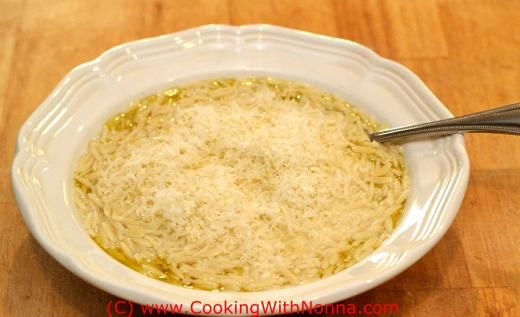 Orzo Pastina with Parmigiano and EV Olive Oil... Nonna's remedy for the flu`!