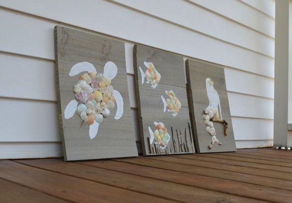 Set di tre segni d'epoca in legno di Simplebeachsigns su Etsy