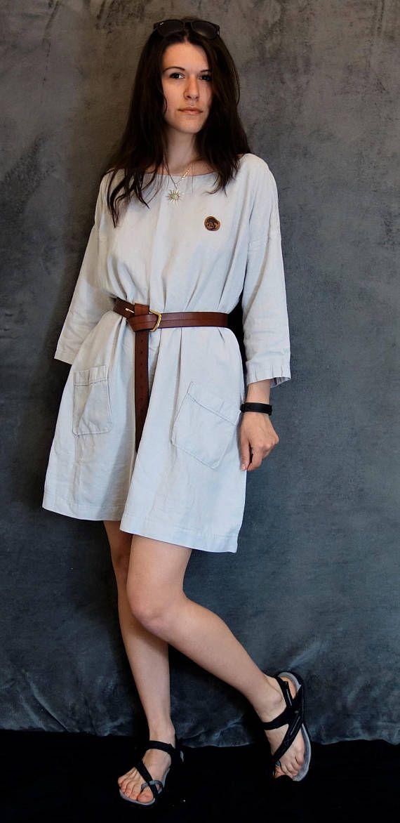 Grey Linen/Cotton Dress Loose Dress Handmade Dress Natural