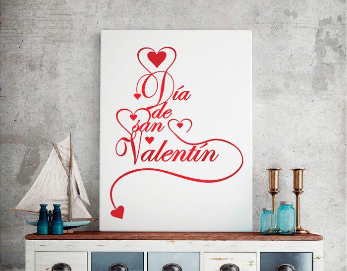 vinilo de texto y corazones para el día de san valentín. Pegatina Día de los Enamorados