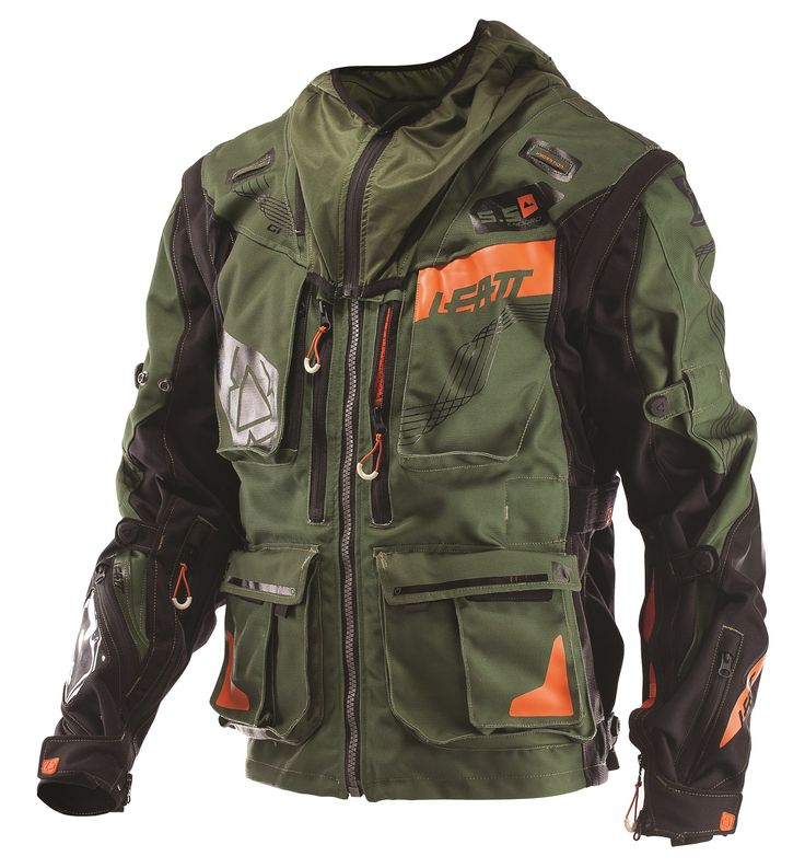 Water-Resistant, Performance GPX 5.5 Enduro Off-Road Jacket in Khaki/Black. Leatt has developed a range of high-performance GPX gear, specifically designed to suit motorsports and other powersports athletes' needs.