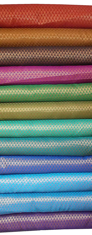 Bundle of Indian silk brocades in small motifs -set of 12 fat quarters