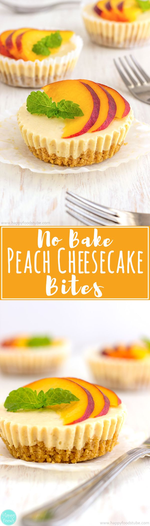 :) No Bake Peach Cheesecake Bites are so delicious party food. Make ahead mini desserts and go fast every time! | happyfoodstube.com | Más en https://lomejordelaweb.es