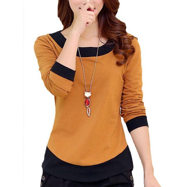Nuevo Otoño 2017 Mujer Camiseta de Manga Larga Delgada Ocasional Básica camisa Del O-cuello Mujeres Camiseta Más El tamaño 2XL Camisa Feminina Blusas cortas