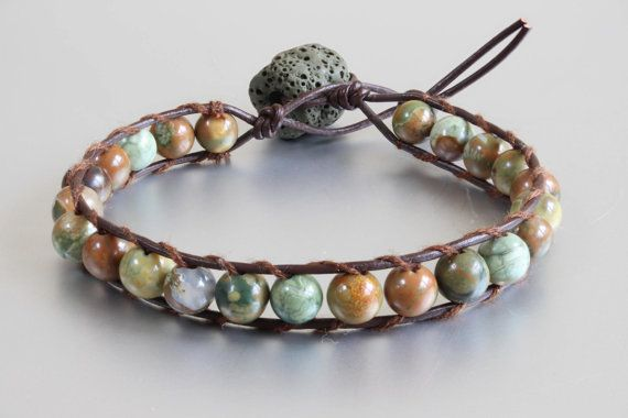 This very pretty (6mm beaded) Rhyolite leather single wrap bracelet is ready to be shipped just for you! Looks good both on men and women. The