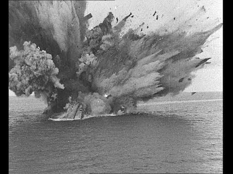 HMS Barham Explodes and Sinks, 1941 [Full Resolution]. Dramatic Newsreel footage captured the sinking of the Queen Elizabeth Class Battleship. A salvo of torpedoes from a German submarine struck from close range on HMS Barham on November 25, 1941 in the Mediterranean. Within four minutes, the battleship had listed over to Port and the ships magazines had exploded, sinking the battleship and killing 863 men.