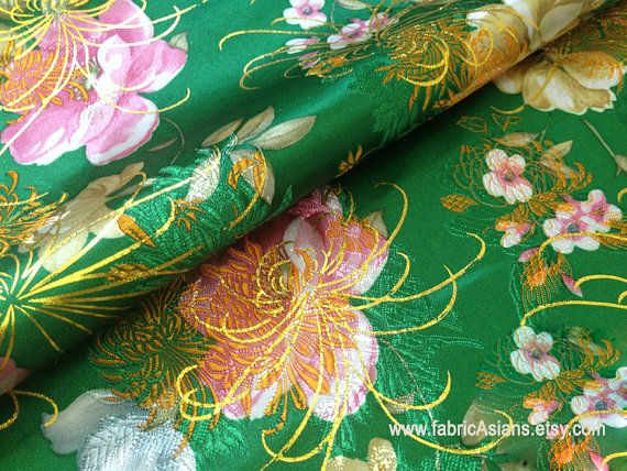 unique green black floral blend silk fabric ideal for making asian oriental dress or