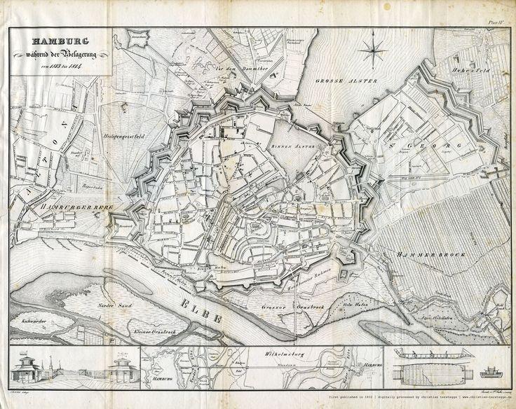 Karte Hamburg 1813, aus: F. H. Neddermeyer: Topographie der Freien und Hanse Stadt Hamburg, 1832.